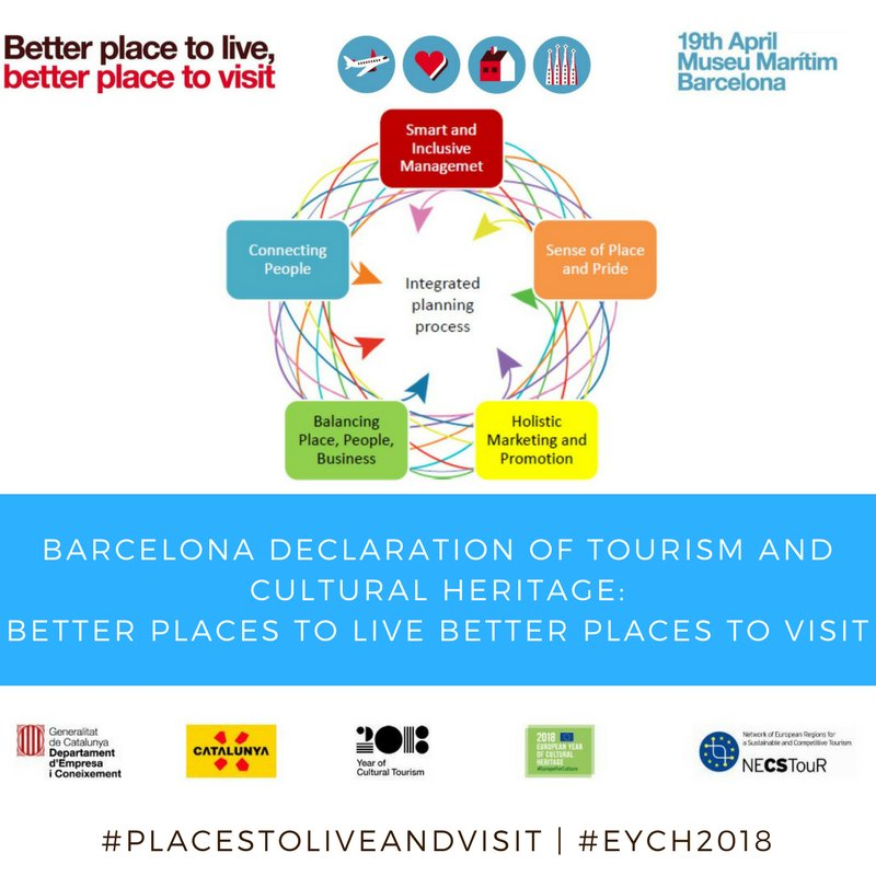 Barcelona Declaration on better #PlacestoLiveandVisit officially presented stating 5 essential principles: #Smart #Inclusive #Management, Sense of #Place and #Pride, #Holistic #Marketing #Promotion, Balance #Place #People #Business, #Connecting People <br>http://pic.twitter.com/8ICiE7BMpk