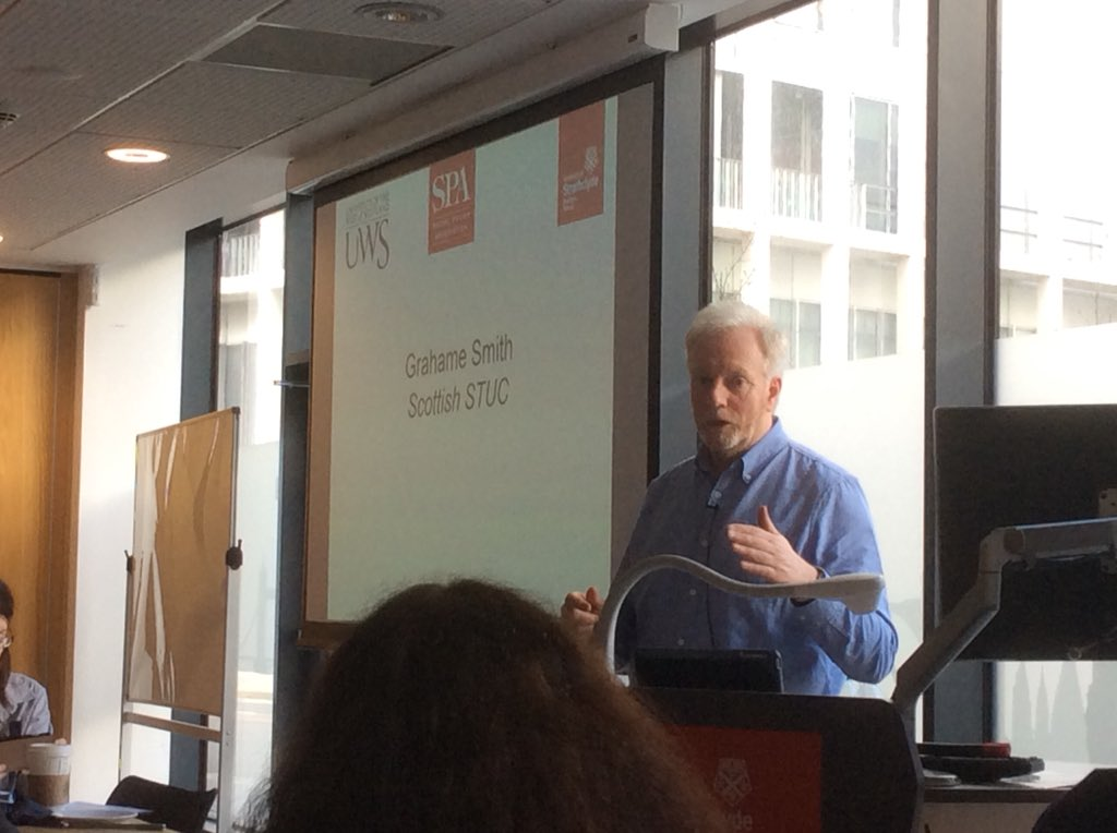 Good final session on fair work from Grahame Smith General Secretary @ScottishTUC #progressivefutures on why what happens in workplaces &amp;  fair work is important for the economy and society. Need to engage with wider stakeholders as well as Gov. @SocialPolicyUK #InclusiveGrowth <br>http://pic.twitter.com/hP0H5dNZ2f