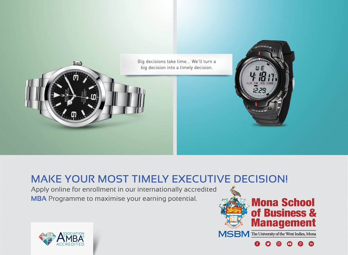 Big decisions take time… We'll turn a big decision to a timely decision. Make time for an executive decision with an #InternationallyAccredited #MBA from #MSBM.  Learn more:  http:// bit.ly/discoverMSBMmba  &nbsp;   #ForwardThinking #UWIMona #ApplyNow #PelicanPride #BestMBA #AMBAAccredited<br>http://pic.twitter.com/MvPST5EwSH