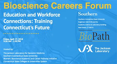 .@jacksonlab, @SCSU and @BioCT_org to sponsor a #Bioscience Careers Forum Friday, April 27, 2018 9:30 AM - 2:30 PM   http:// more.southernct.edu/bioscience/  &nbsp;  <br>http://pic.twitter.com/qLD6aomMal