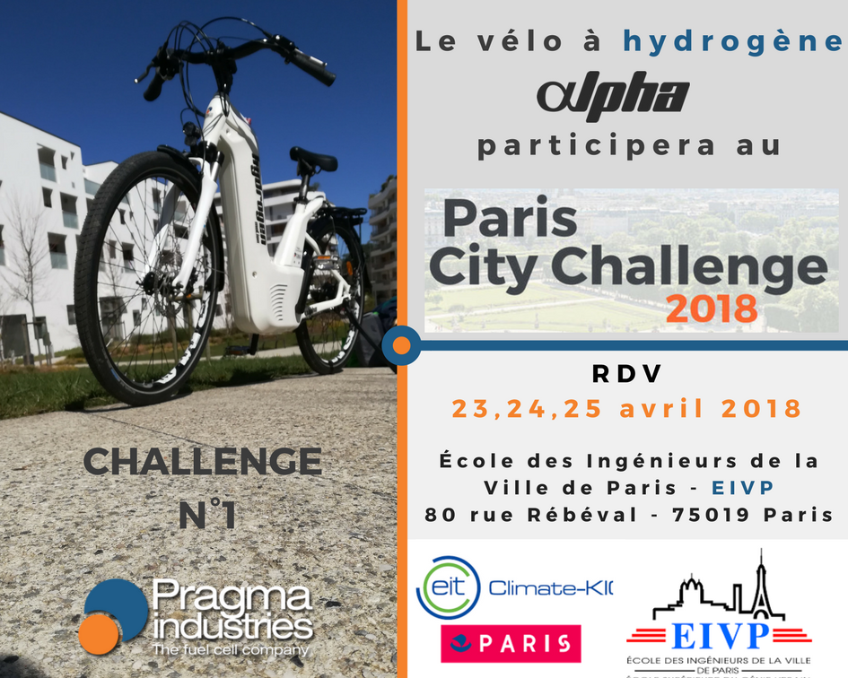 Les 23, 24, 25 avril, Pragma industries relèvera le challenge N°1 du Paris City Challenge 2018 co-organisé par  la Ville de @Paris, @eivp_paris et @ClimateKIC_Fr #PlanClimat #ParisCityChallenge #mobilité #villedurable #H2now #écomomilité #hydrogen #véloHydrogène #cleanenergy