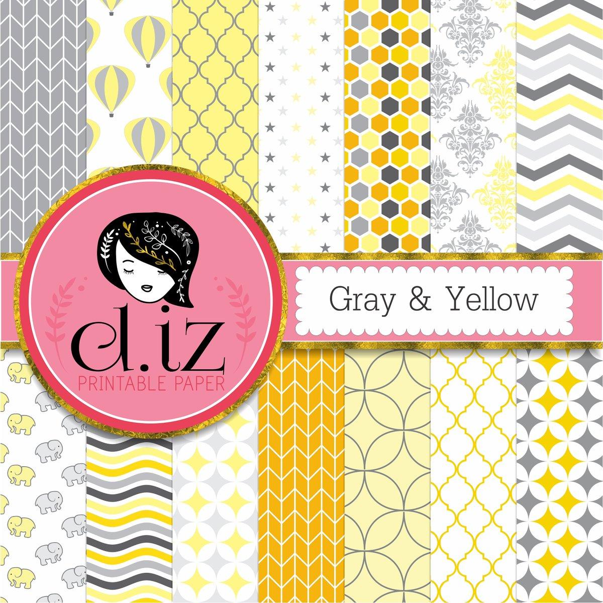 Diz On Twitter Yellow And Gray Digital Paper Yellow Gray