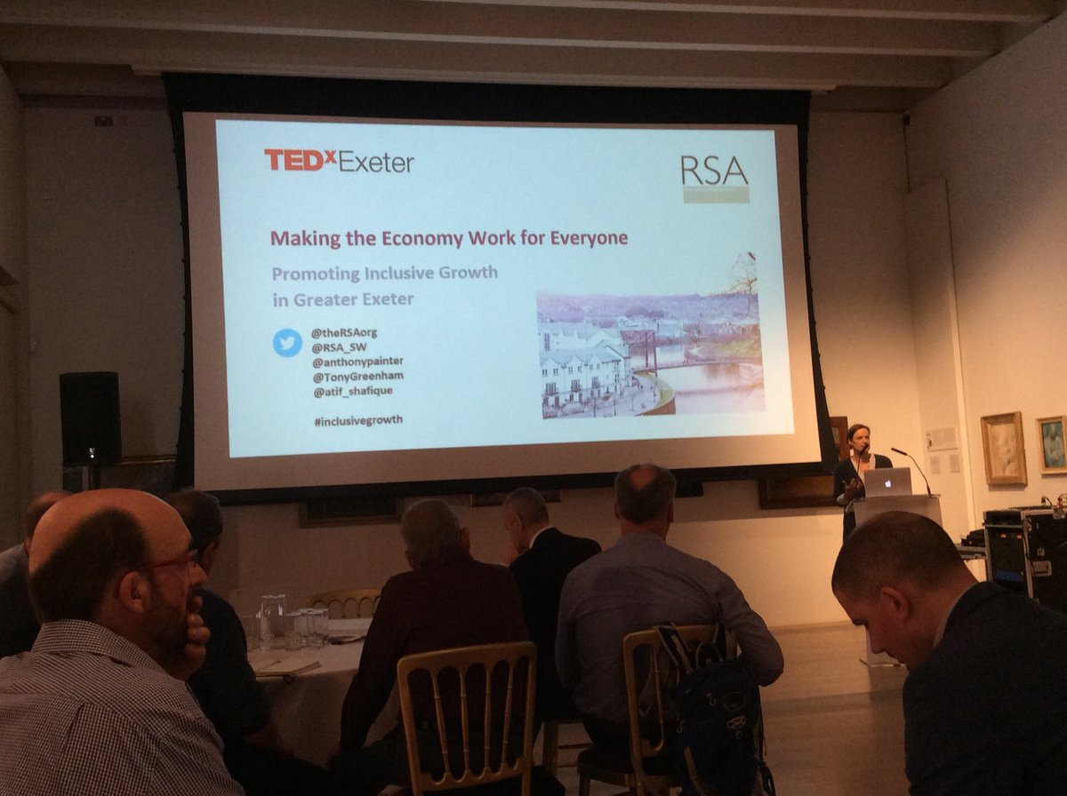 The start of discussions at the @TEDxExeter and @theRSAorg event in making the economy work for everyone in Exeter #InclusiveGrowth <br>http://pic.twitter.com/uMZkNsS0ct