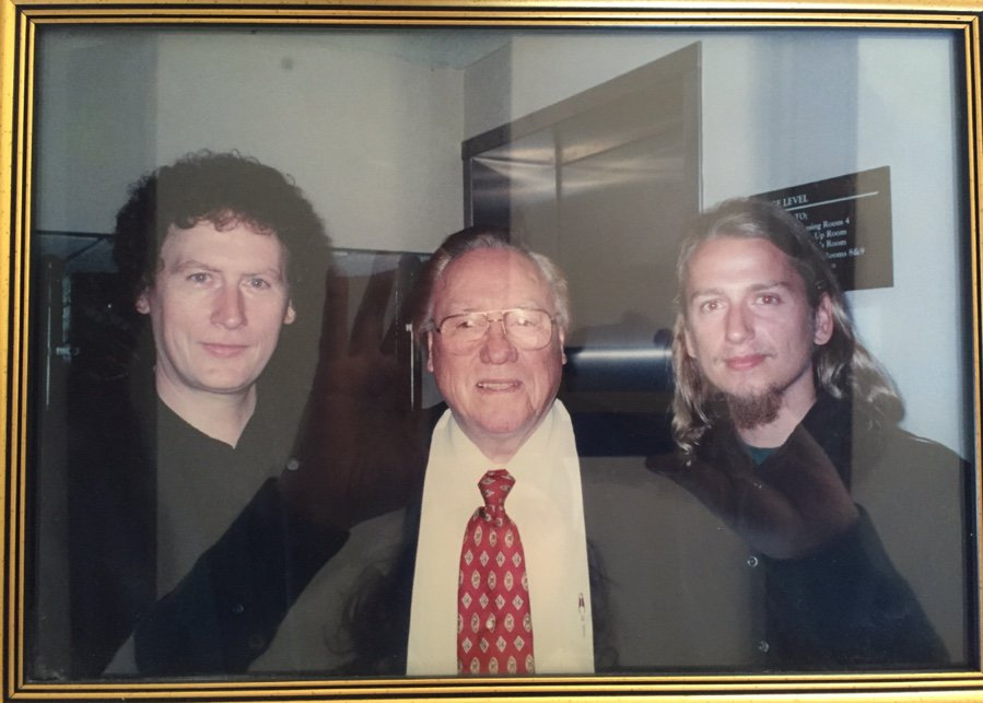 I made it a point when I was younger to seek out the masters I hadn't met that were still alive. Guys like #BillMonroe. In this picture (which I have on my wall), I felt like a gangster. Serious musicians. Left to right: #RandyScruggs #EarlScruggs #RoyOrbisonJr<br>http://pic.twitter.com/pybEaXqL4j