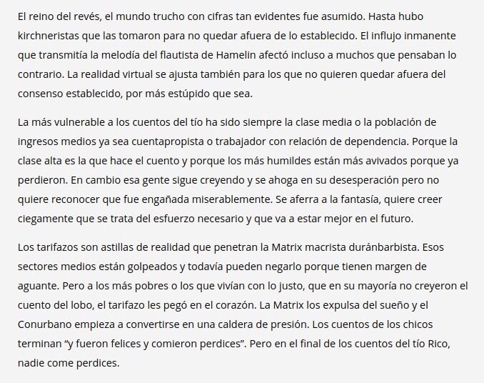 """Pero """"en el final de los cuentos del Tío Rico, nadie come perdices"""".  https://t.co/thJNQlxEUS https://t.co/3TJpBrgheV"""