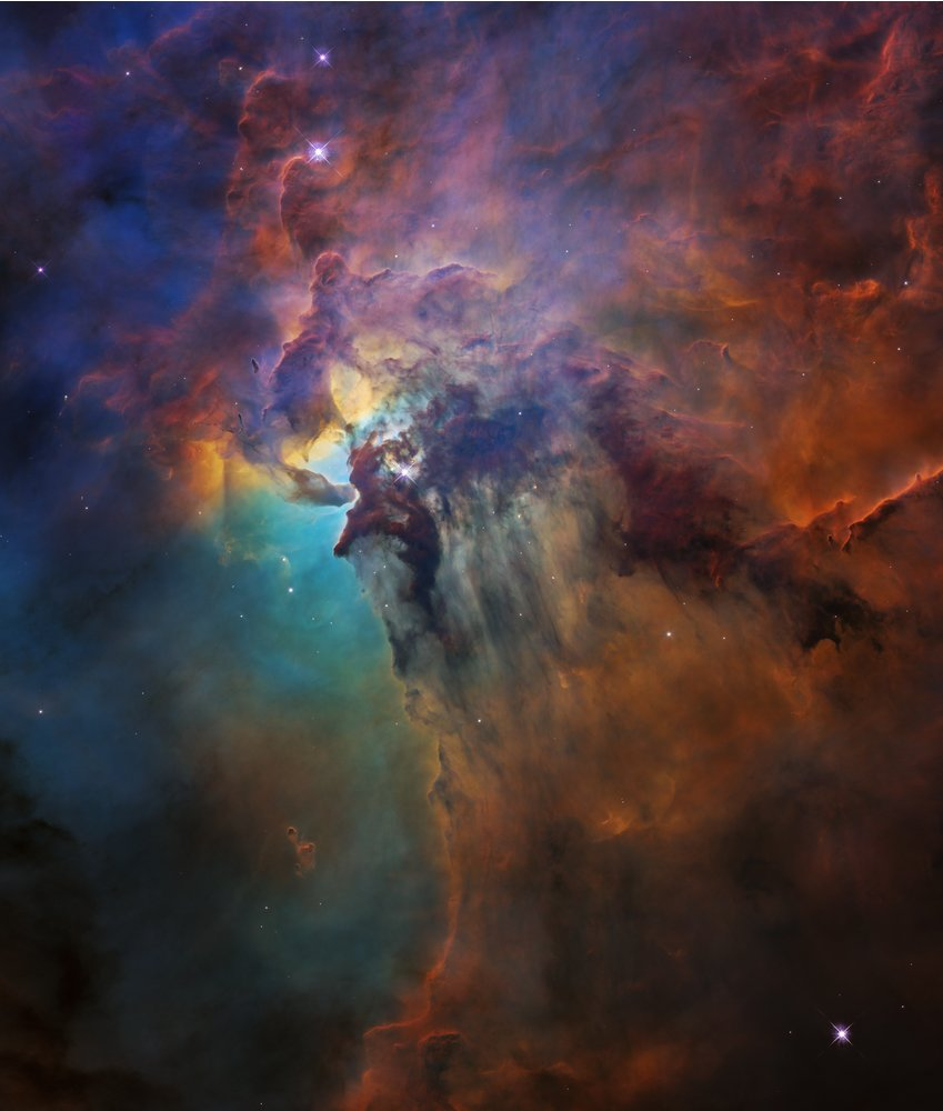 These Hubble images compare two diverse views of the roiling heart of a vast stellar nursery, known as the Lagoon Nebula. The images, one taken in visible and the other in infrared light, celebrate Hubble's 28th anniversary in space: https://t.co/UwC20K0c6R