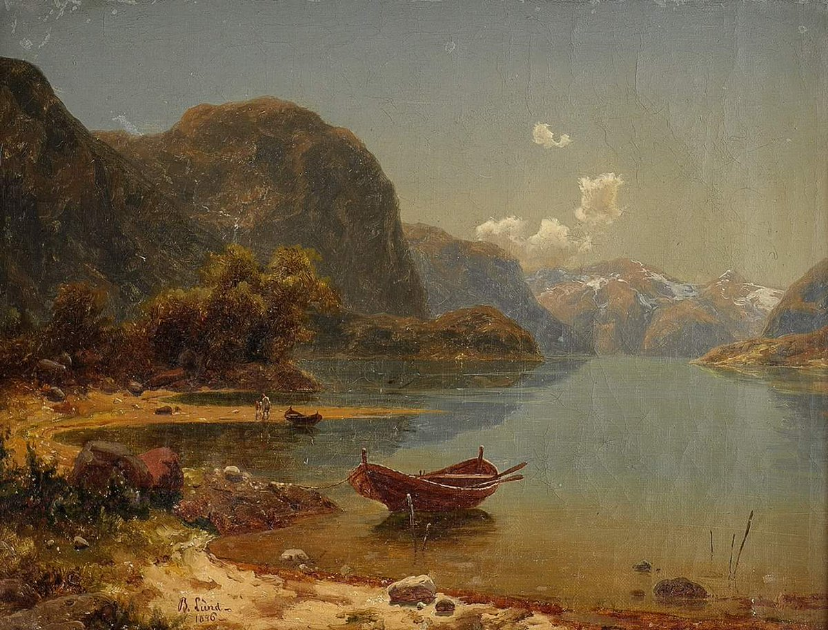 #HistoryofPainting  Beauty in #Art  #Artist #Painter Bernt Lund(July 14, 1812 – October 30, 1885) was a 19th-century Norwegian landscape artist, author and military officer. #Artwork #Painting &quot;Fjords with crowds or Fjord landscape&quot;, 1846 <br>http://pic.twitter.com/SZxZqGPekl