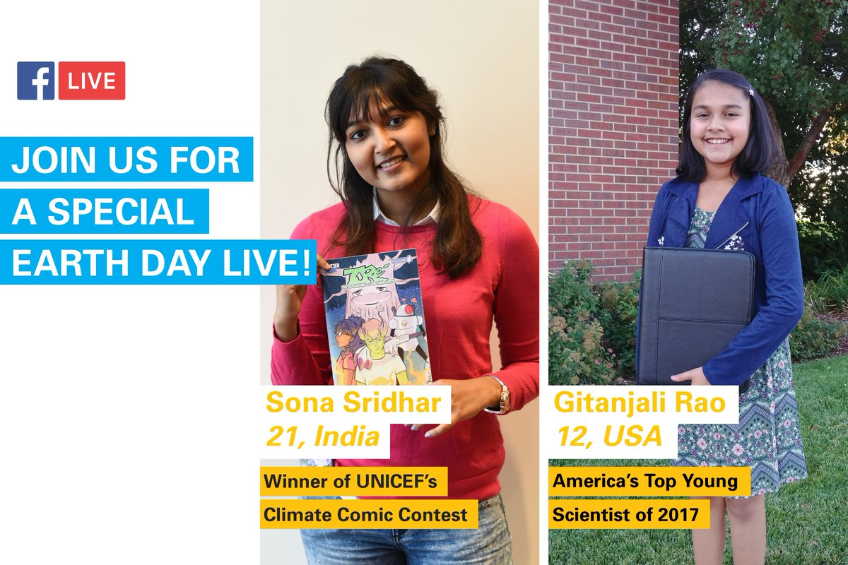 Ahead of #EarthDay 🌎, we're LIVE with two inspiring girls: America's top young scientist Gitanjali Rao 👩‍🔬 and the winner of our Climate Comic Contest Sona Sridhar 👩‍🎨. We have some exciting giveaways! Watch now → uni.cf/2H8YmKZ