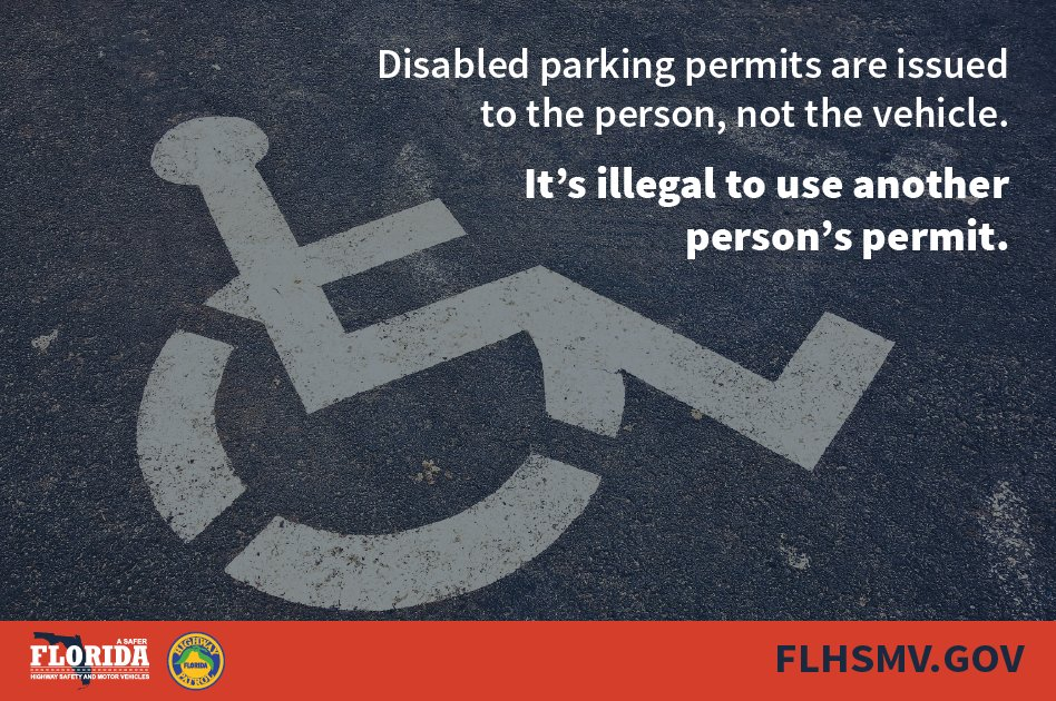 flhsmv on twitter florida law prohibits using a disabled parking