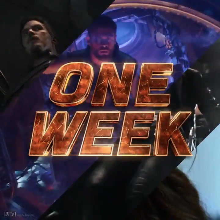 See Marvel Studios' @Avengers: #InfinityWar in one week. Get tickets: https://t.co/JjbjHze1VD https://t.co/1Z03KVlipG