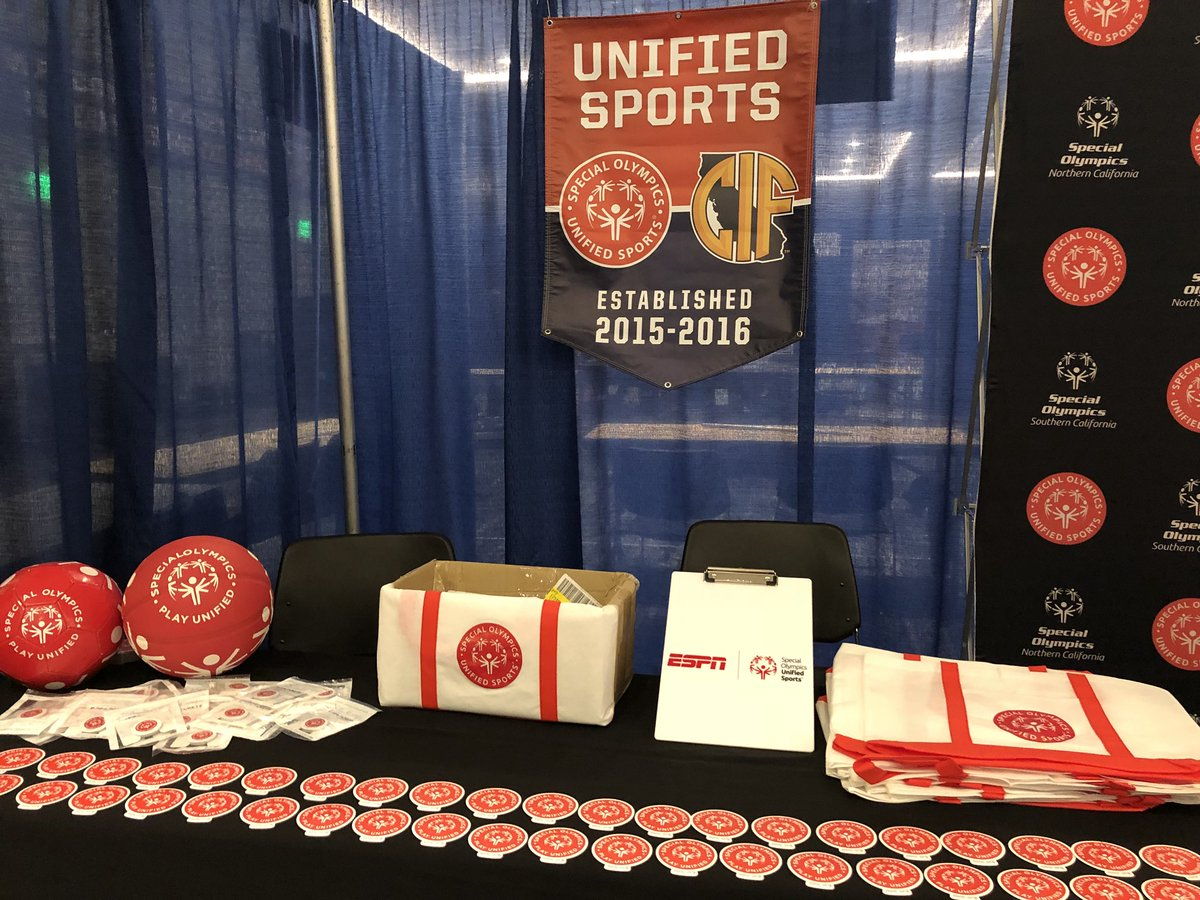 Come visit @SOSoCal @SONorCal at the #csada2018. We are in booth 213 &amp; 215. Learn more about #unifiedsports and how to bring inclusion to your school #playunified #choosetoinclude <br>http://pic.twitter.com/enaXOtsTkz