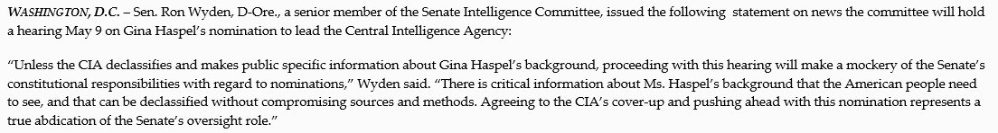 Agreeing to the CIA's cover-up of critical information about Gina Haspel's background and pushing ahead with this nomination for @CIA director represents a true abdication of the Senate's oversight role.