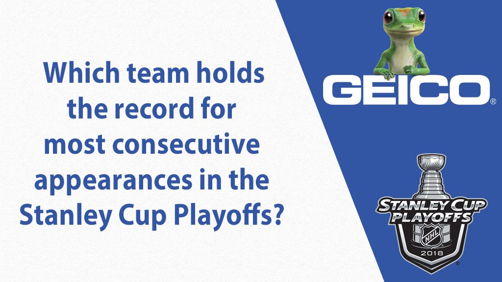 Time to test your #Stanley Cup Playoff knowledge. Tag your trivia answer with #GEICOCupCrazy for a chance to win. 👇
