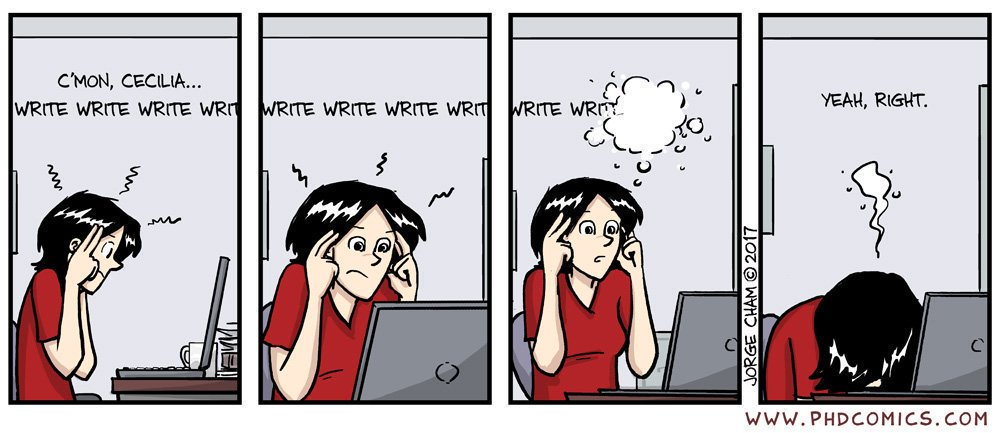 """Write 📝 = what authors do  Right = opposite of """"left""""; correct ✔  Rite = ceremony; custom  Wright = maker or builder 🛠  (Tricky, right?) 😏  [Comic by @PHDcomics]"""