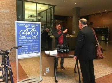 The owners of of downtown #Hartford&#39;s tallest office tower--CityPlace I--are teaming with city officials on Thursday to showcase a new bike-sharing service in downtown Hartford.  http:// bit.ly/2vB9Vp1  &nbsp;  <br>http://pic.twitter.com/yzl0ct5DvX