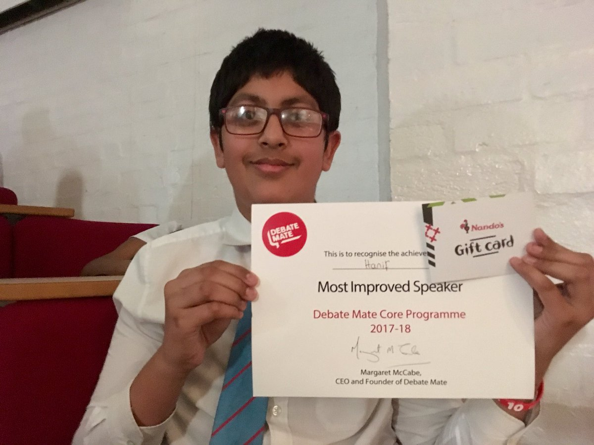 MASSIVE congrats to Hanif for winning 'Most Improved Speaker' in the whole West Mids! Well deserved  #ambition @Debate_Mate @ErdingtonAcad<br>http://pic.twitter.com/DEcl57L422