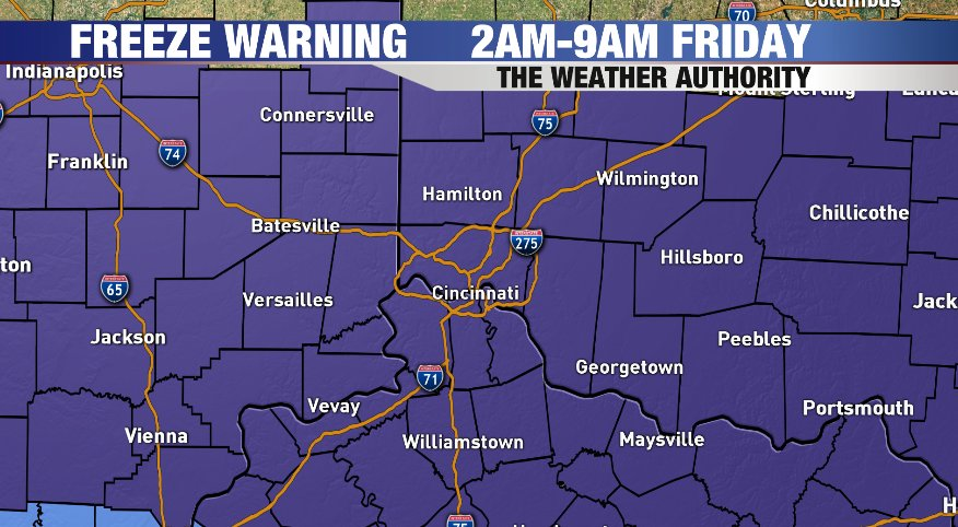 #Freeze Warning in effect tonight. Temperatures will be around or fall below freezing for Friday morning. Highs on Friday will reach the upper 50s. <br>http://pic.twitter.com/5JLHaUxylq