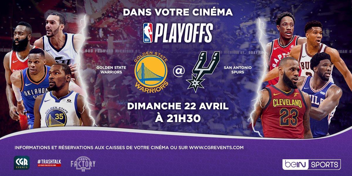 Votre #NBASundays en grand, en très grand !! 🍿🎥  Le game 4 du premier tour des #NBAPlayoffs entre #DubNation et #GoSpursGo sera diffusé ce dimanche dans plus de 50 salles de cinéma à travers la France. #NBACine   Plus dinfos et réservations ➡️ po.st/bagoot