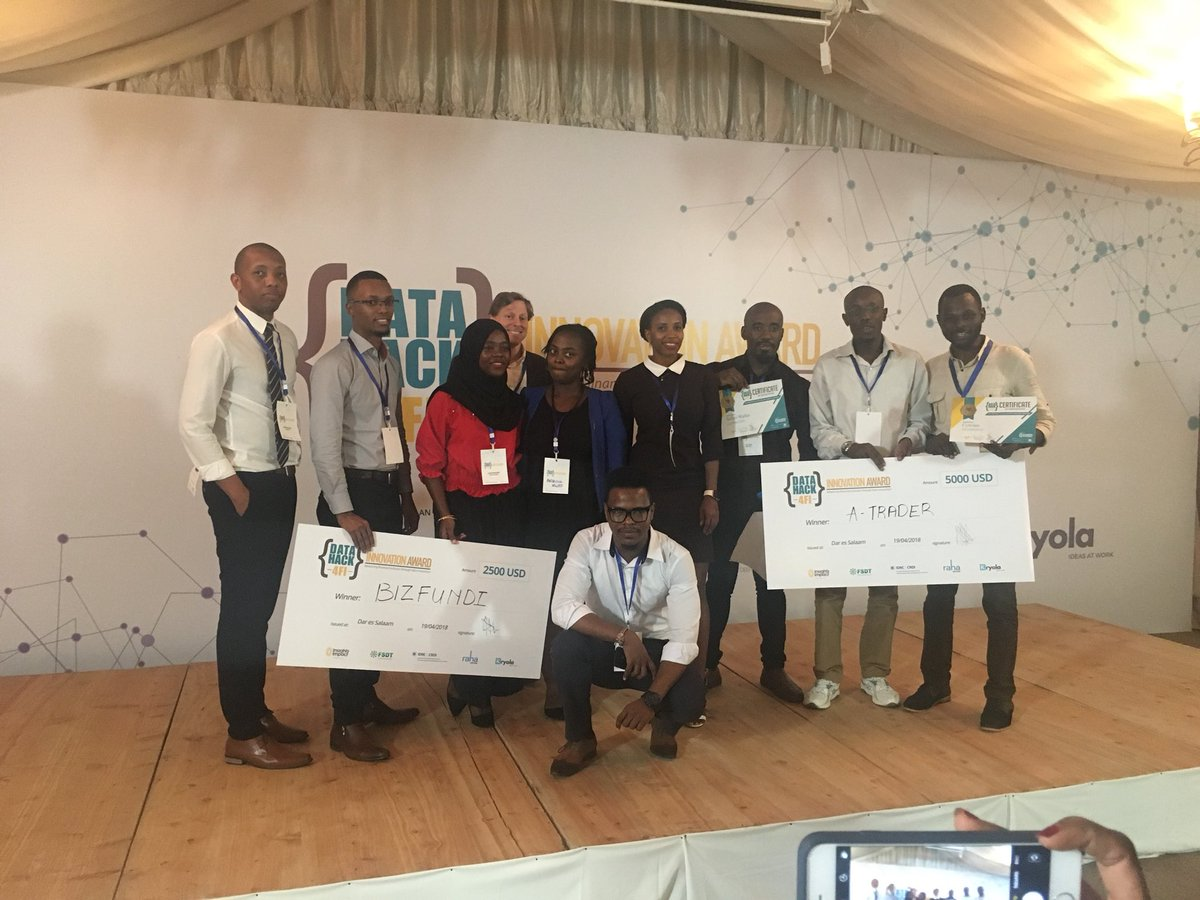 And the winners for the #DataHack4FI season 2 grand finale Tanzania are.... @ATraderTZ and Bizfundi! Congratulations! #YoungAfricaWorks #FinancialInclusion @i2ifacility @FSDTanzania @liquidtelecomtz @ideas_atwork<br>http://pic.twitter.com/Zw9UXjwECu