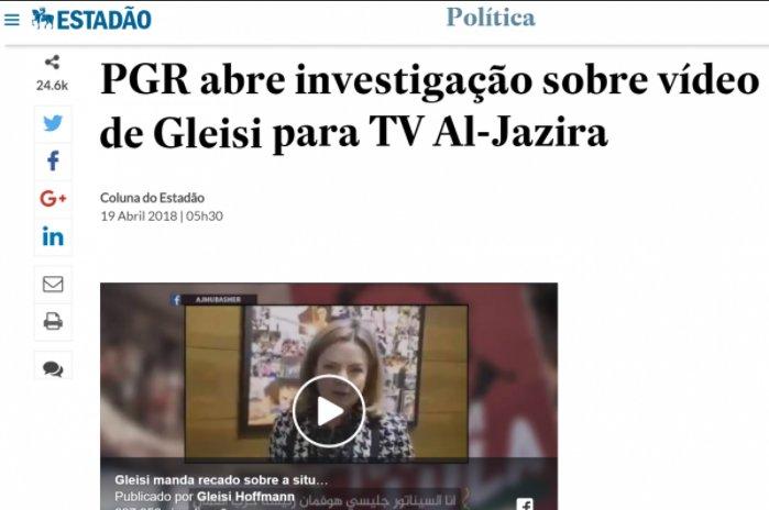 Xeque: Estadão promove Fake, PGR não investiga Gleisi Hoffmann https://t.co/VugcAW0Dv1