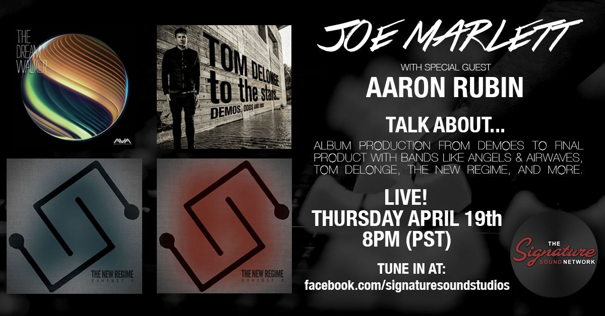 Join in on the discussion about album production with @TheAaronRubin tonight on FB Live at 8pm PST: bit.ly/SSLive419