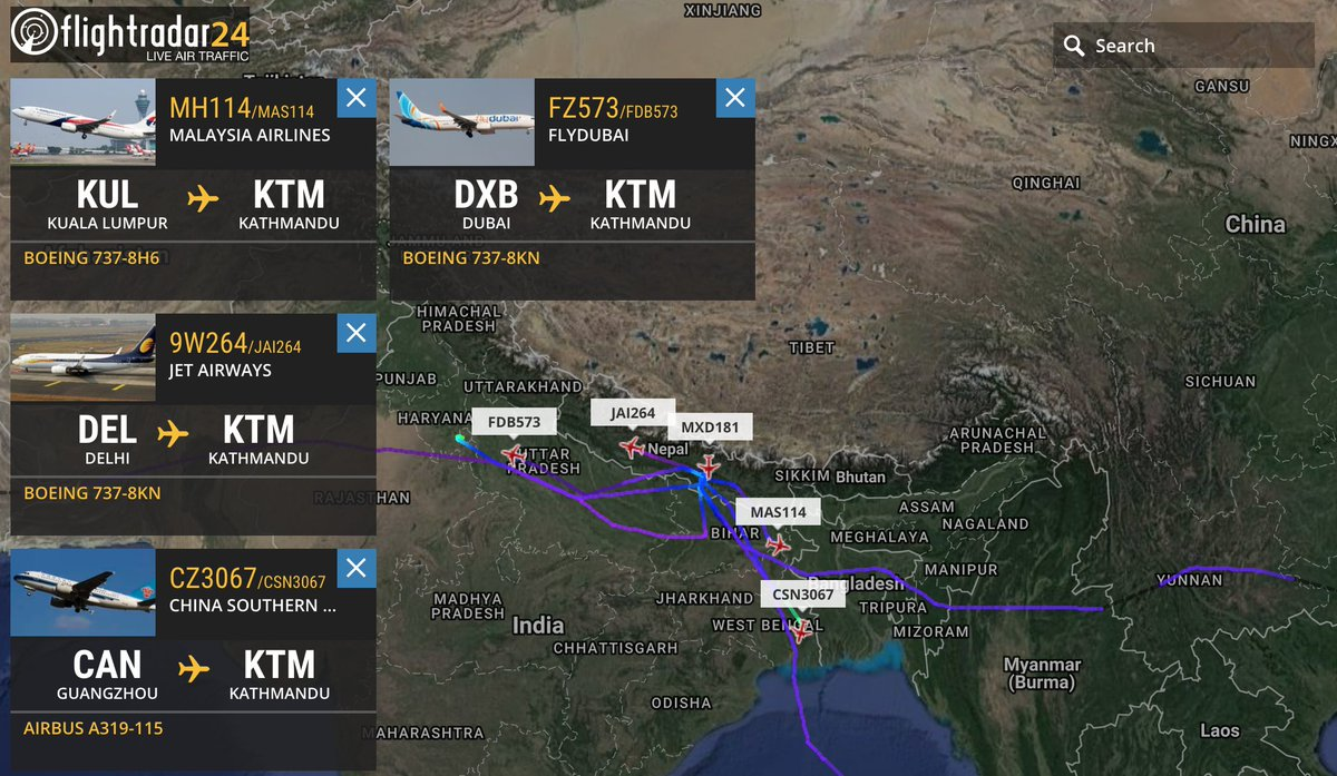 Flights bound for Kathmandu are currently diverting to alternate airports. https://t.co/SRXPKnvoi1