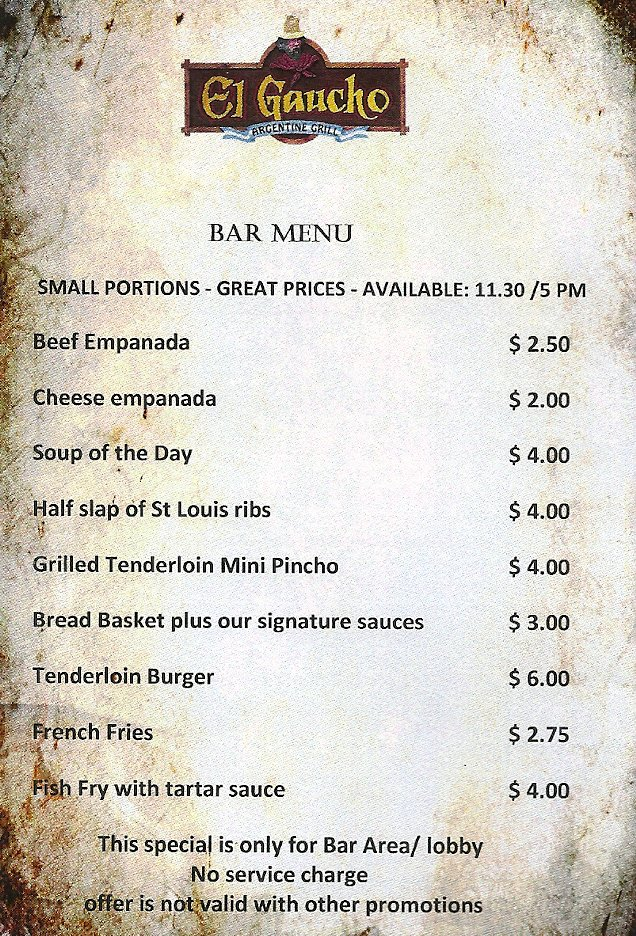 "EL GAUCHO Aruba on Twitter: ""Introducing our Bar menu ... 