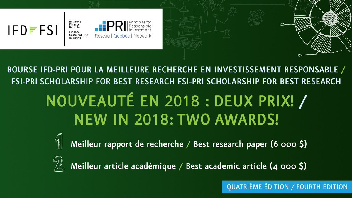 The FSI-PRI Scholarship for best research in responsible investing is open. Submit your applications by June 30th!  @ifd_fsi @PRI_News #ESG #responsibleinvesting #sustainability #ifd-fsi  https:// fsi-ifd.org/bourse/  &nbsp;  <br>http://pic.twitter.com/lr1O3UdLtx