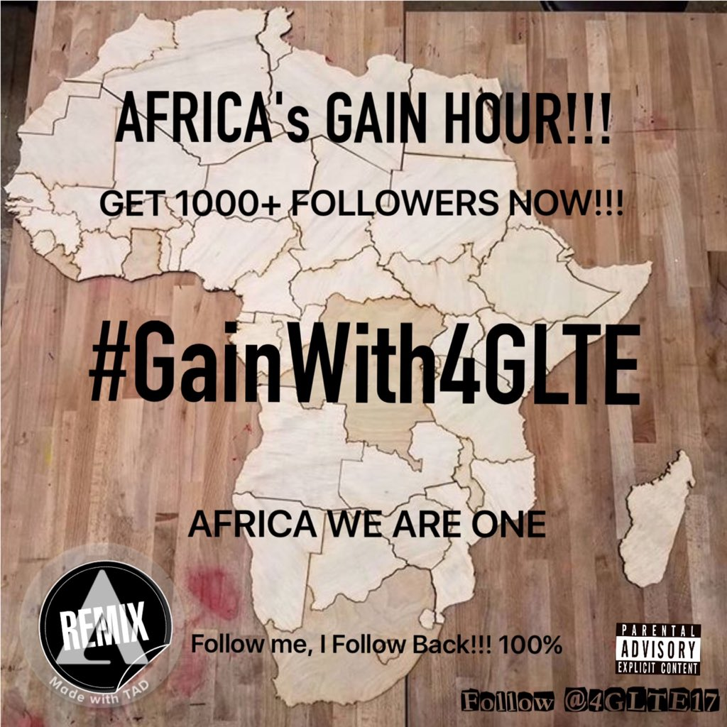 Africa&#39;s Gain Hour!!! Get 1000+ followers!!!   Retweet this  Like this  Follow everyone who follows   #GainWith4GLTE  #SAfollow4follow #GainWithPyeWaw  #MzansiFolloTrain  #TheWeekndFolloTrain   #TrapaDrive  #GainWithXtianDela  #GainWithJnShine   AFRICA WE ARE ONE!!!<br>http://pic.twitter.com/HQhSB9qkdg