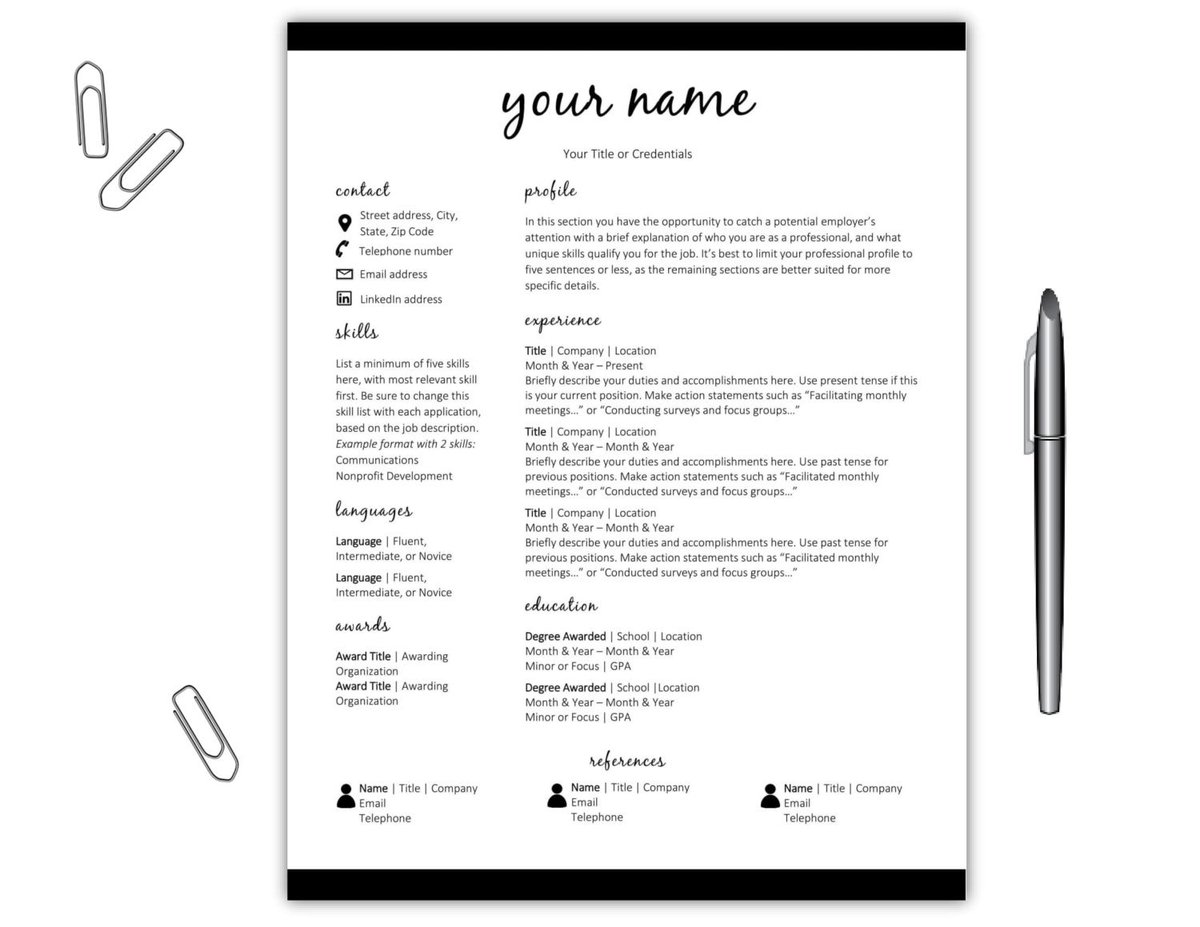 this modern one page resume template is perfect for new grads httpswww etsycomlisting487307206resume template cv template simplerefrelated 7