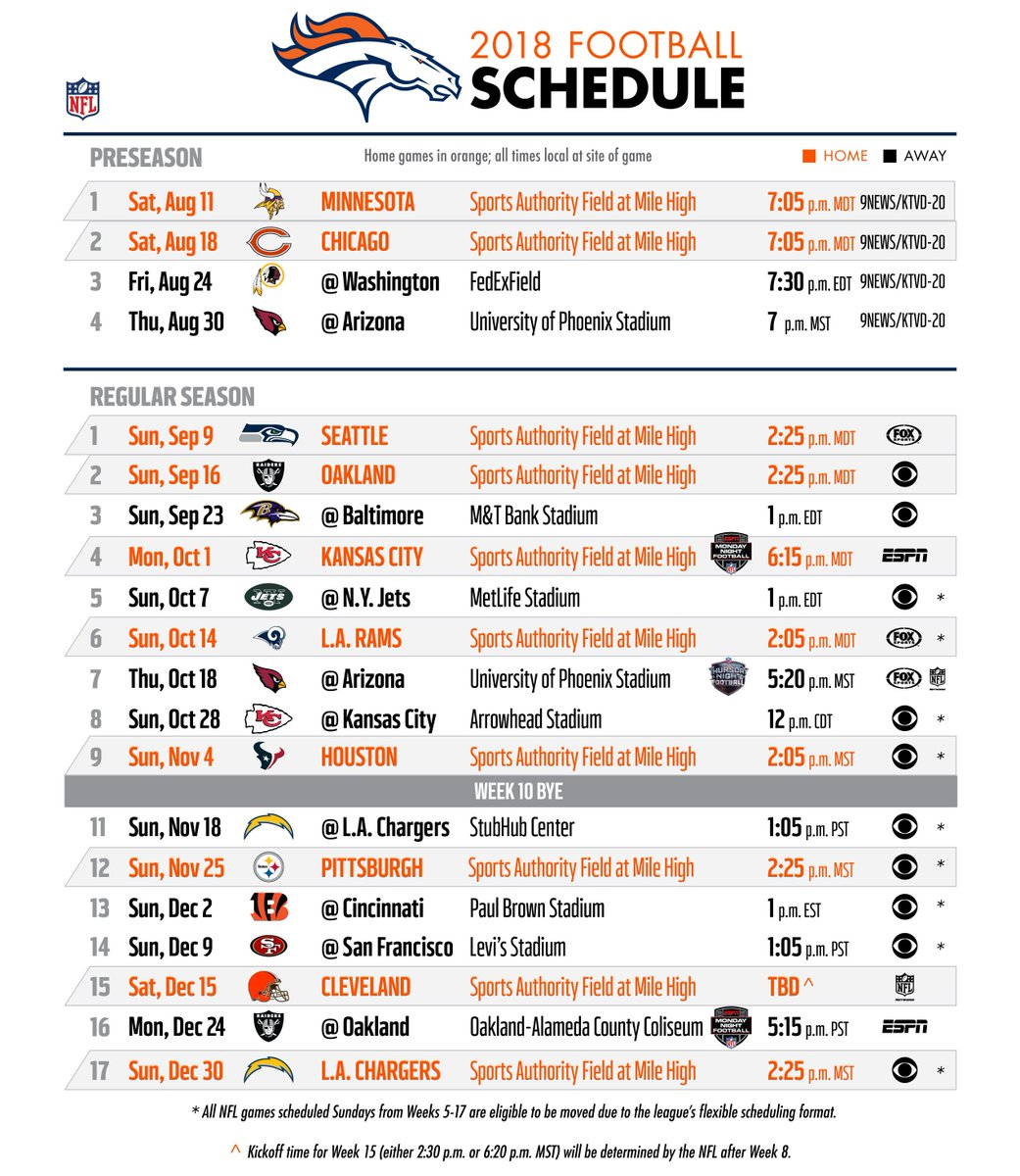 104 3 the fan on twitter the broncos 2018 schedule