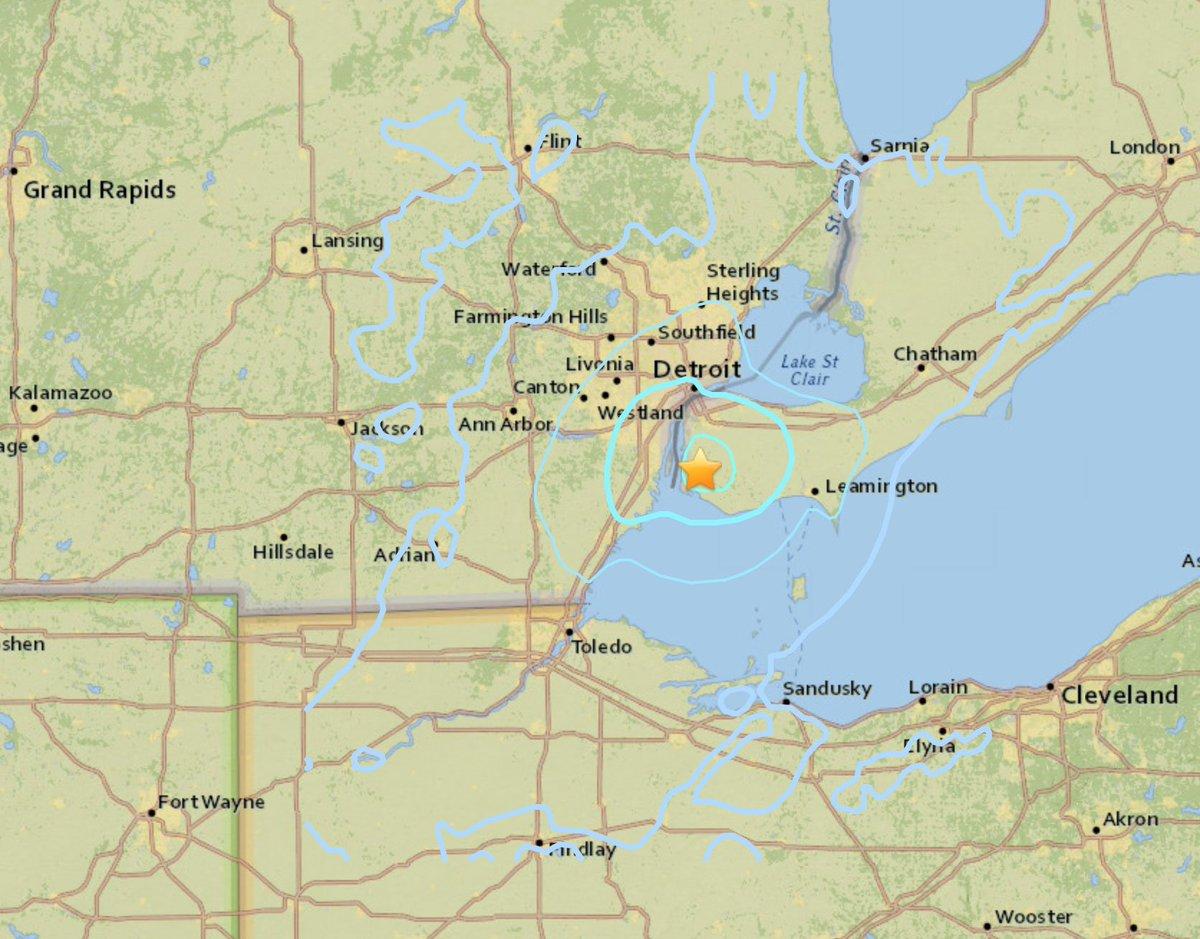 Daily Detroit On Twitter Detroit Earthquake Shake Map Via The