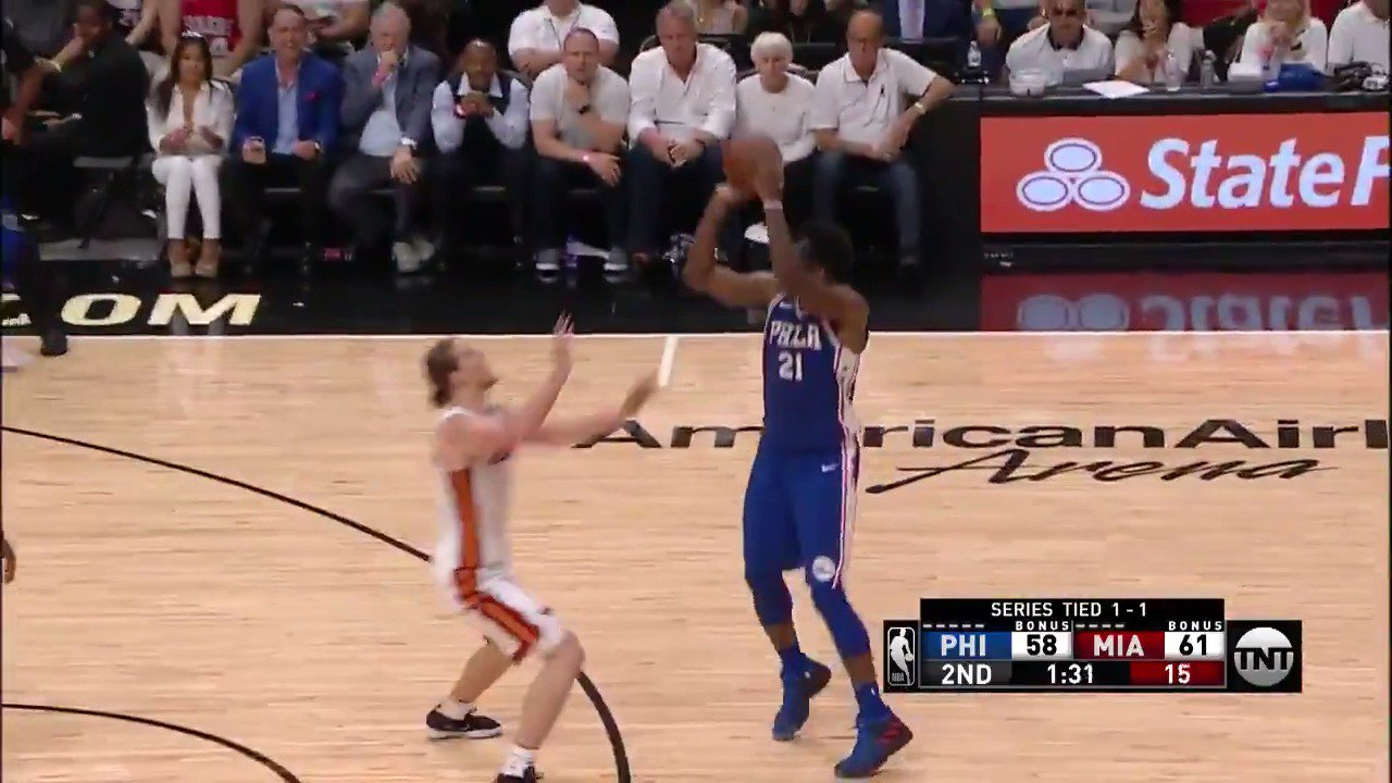Joel Embiid gets his first #NBAPlayoffs bucket!  #PhilaUnite 63 | #WhiteHot 62  ��: @NBAonTNT https://t.co/SHFHWCnUyQ