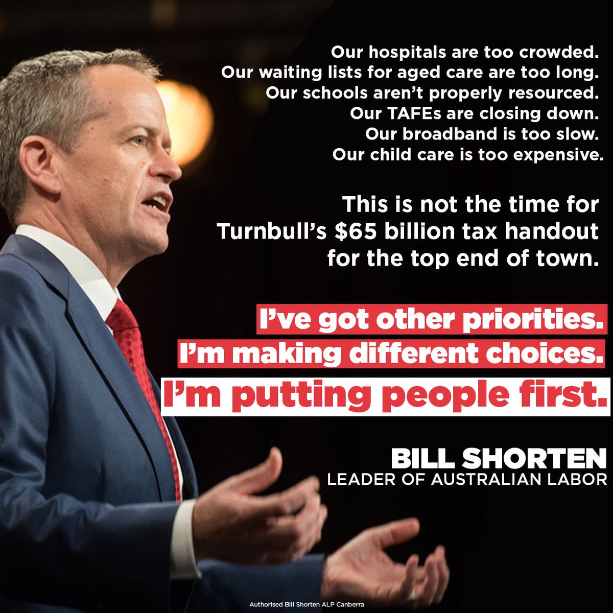 Turnbull's choosing the top end of town. I'm putting people first.