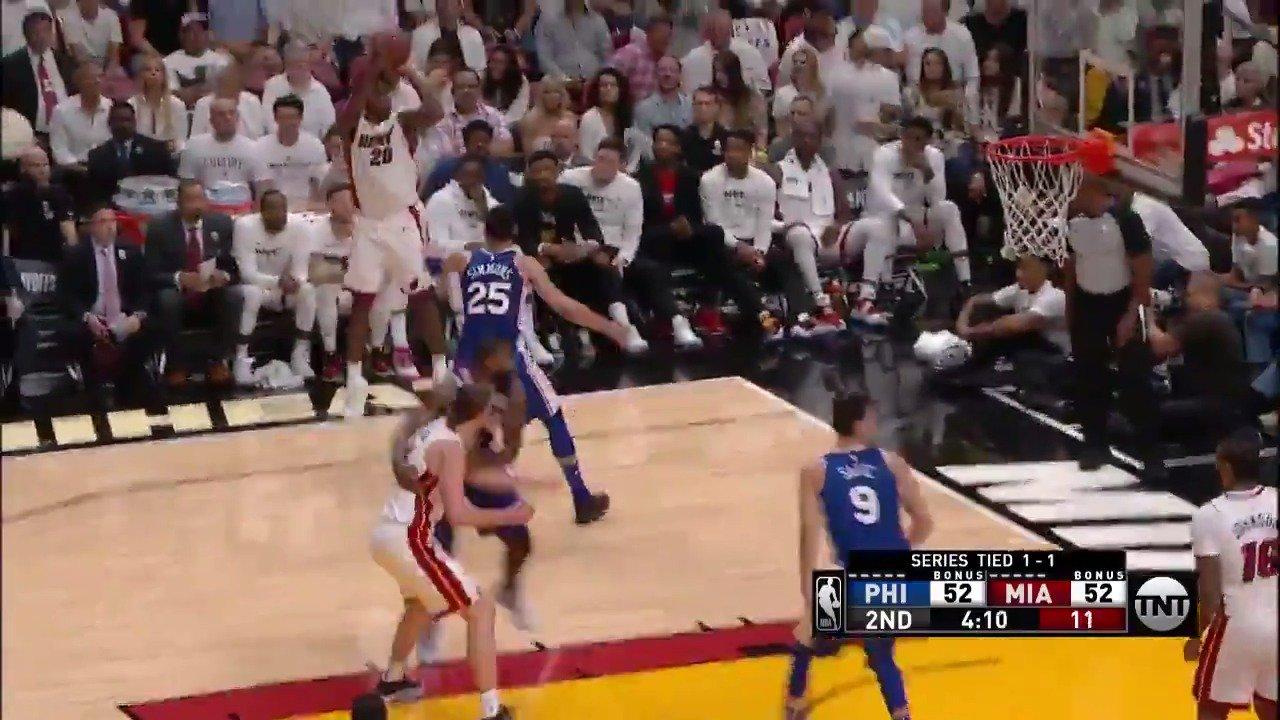 Justise Winslow tallies a postseason career-high 19 PTS (4 3PM) in the first half! #WhiteHot #NBAPlayoffs https://t.co/LlUWgHYp6H