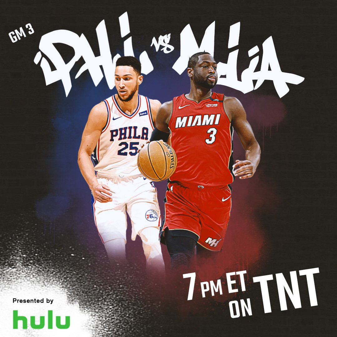 Who will take control as the series shifts to South Beach?  ����  @sixers vs. @MiamiHEAT // 7pm ET on TNT! �� https://t.co/fRPW25aDoU