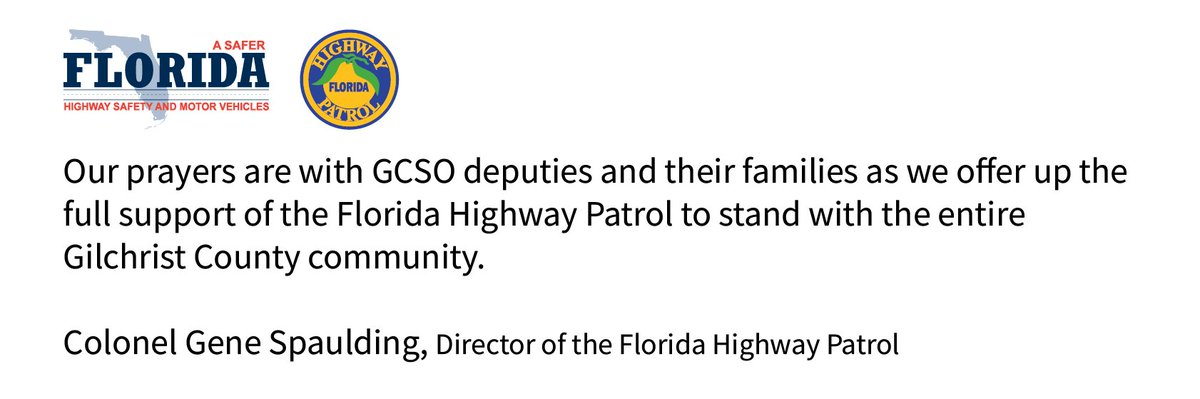 """FLHSMV on Twitter: """"The Florida Highway Patrol supports the entire Gilchrist County community.… """""""
