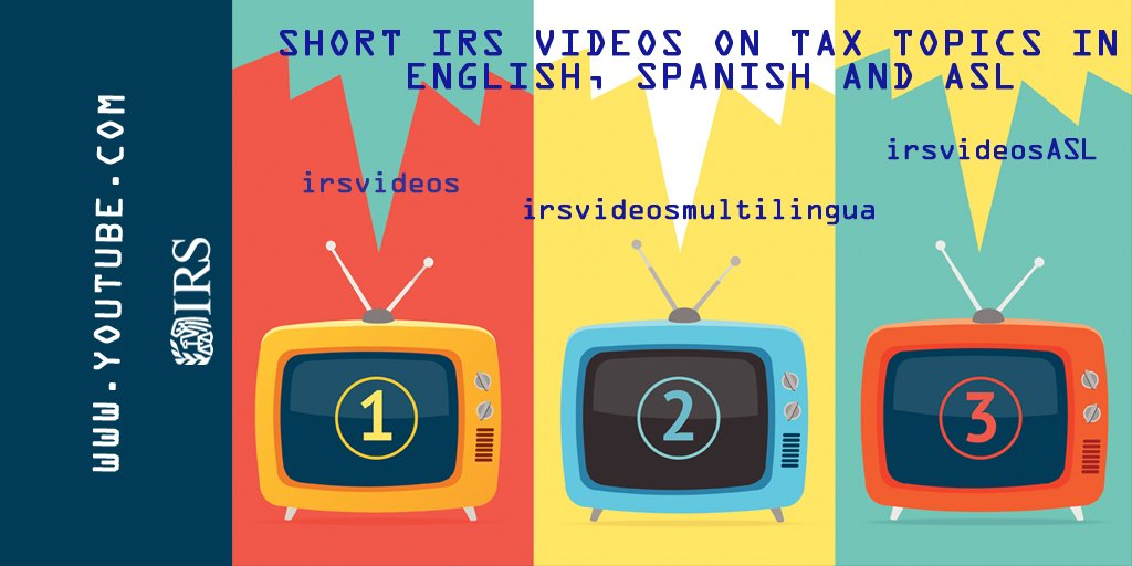 #IRS has short videos on tax topics in English: https://t.co/l74xzvEIlc Spanish: https://t.co/AjS2wHaRpi,  ASL: https://t.co/8XTg7wVKxm