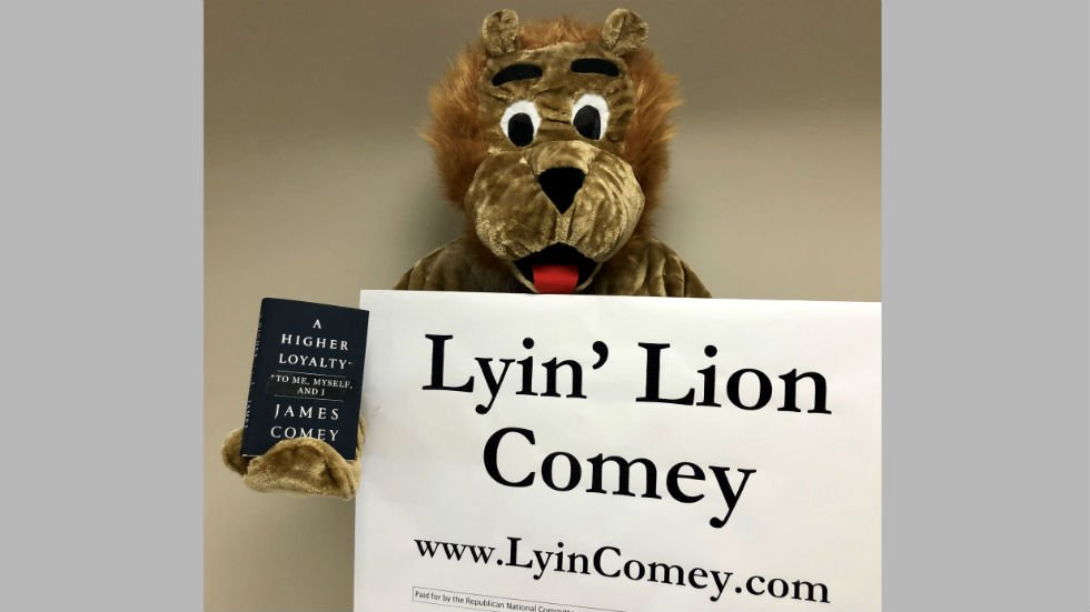 RNC sending 'Lyin Lion' mascot to follow Comey around on book tour https://t.co/QKn2byhIV2