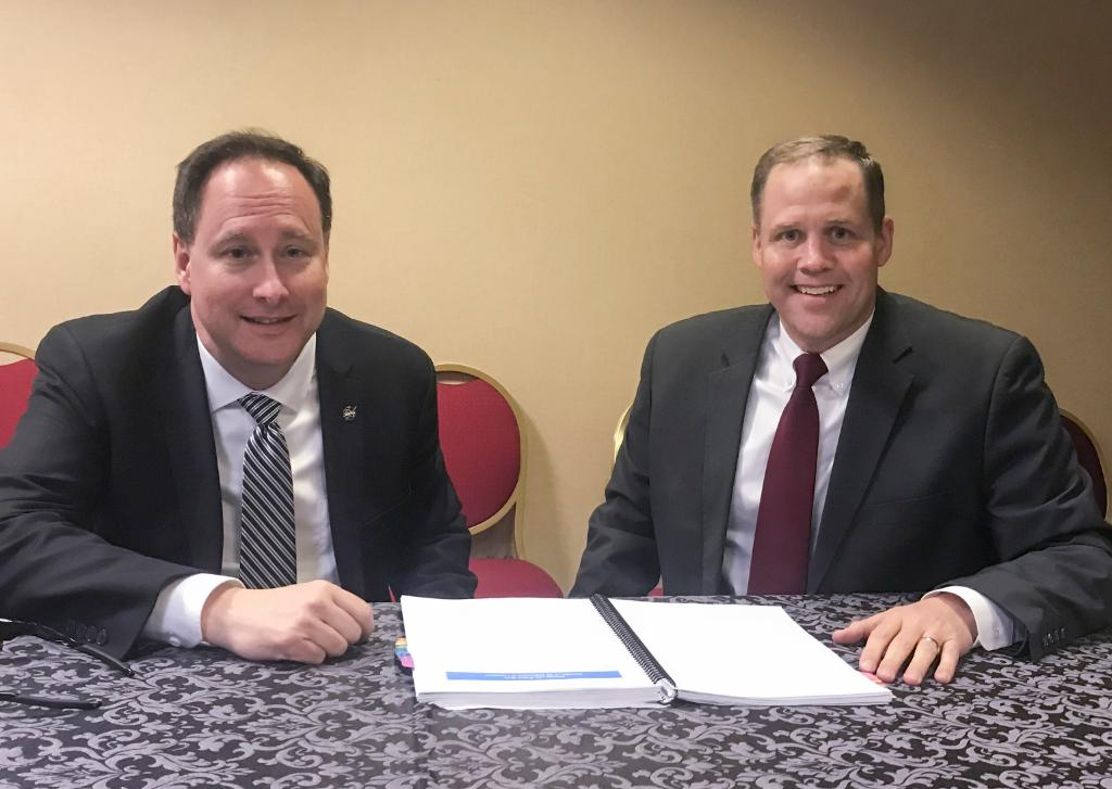 "'It is an honor to be confirmed by the United States Senate to serve as NASA Administrator,"" said Jim Bridenstine (right), seen here at the #SpaceSymposium with Acting Administrator Lightfoot (left). Read more of his statement: https://t.co/MTEoAp6fLj"