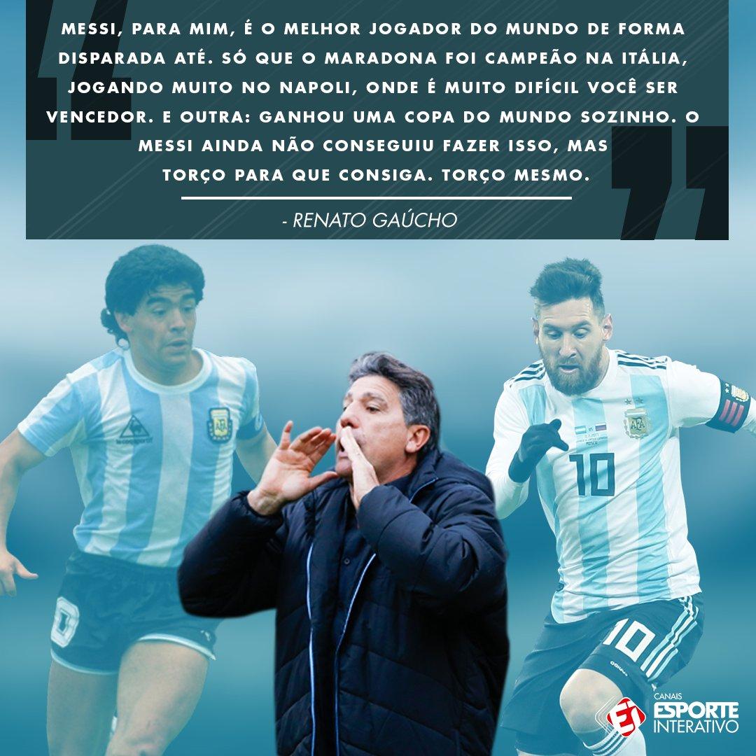 Messi ou Maradona? A opinião do técnico do Grêmio é essa aí. Concorda com ele?