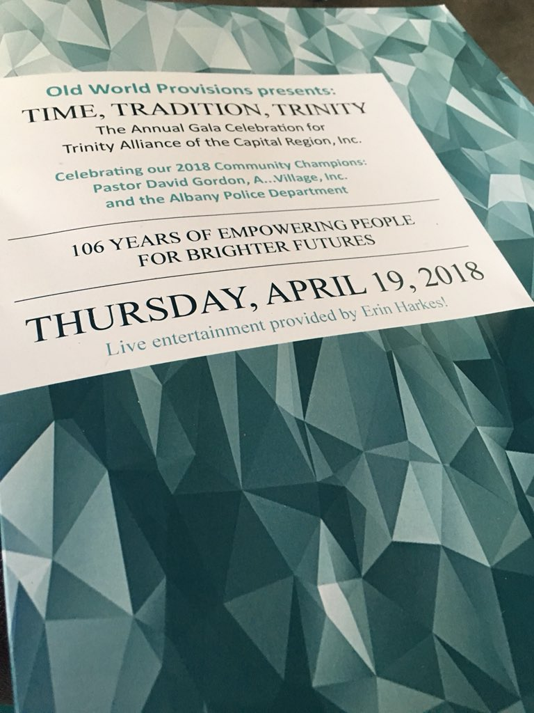 Such a pleasant evening in d'town Albany @nysmuseum w/ @ualbany #PublicEngagement @amedina921 in our support of @TrinityAlbanyNY in honoring dedicated community partners (program cover).Congratulations all! Mayor @Sheehan4Albany, this is difference-making! Great job Harris &amp; Kat!<br>http://pic.twitter.com/z18IfXL8hG