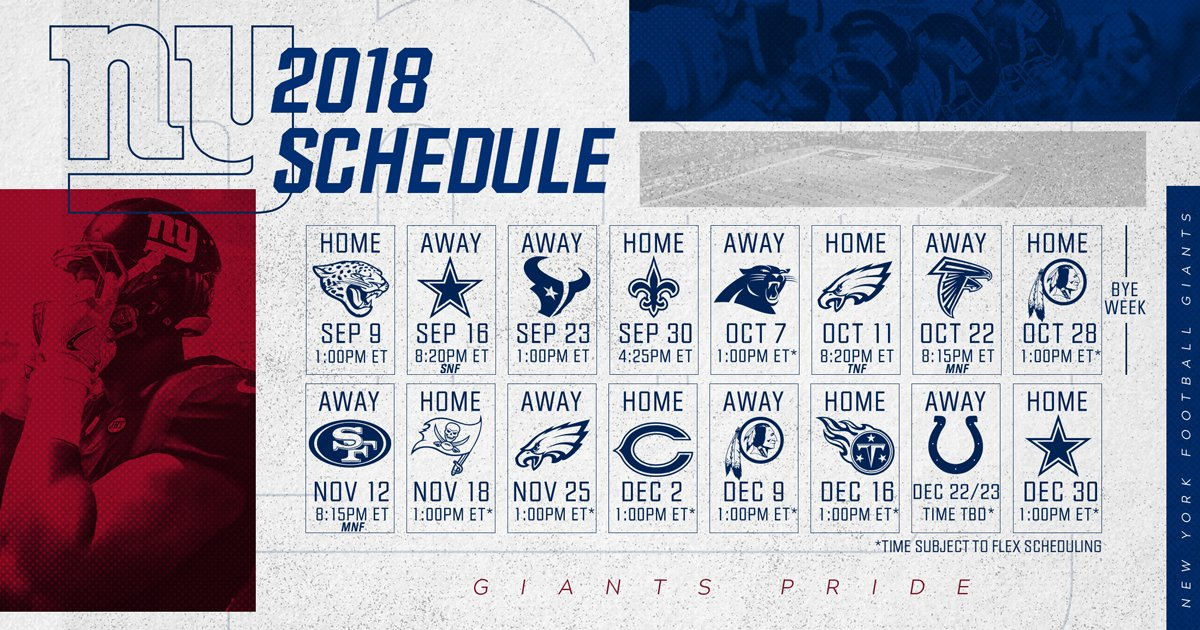 new york giants on twitter the nygiants 2018 schedule 143 days