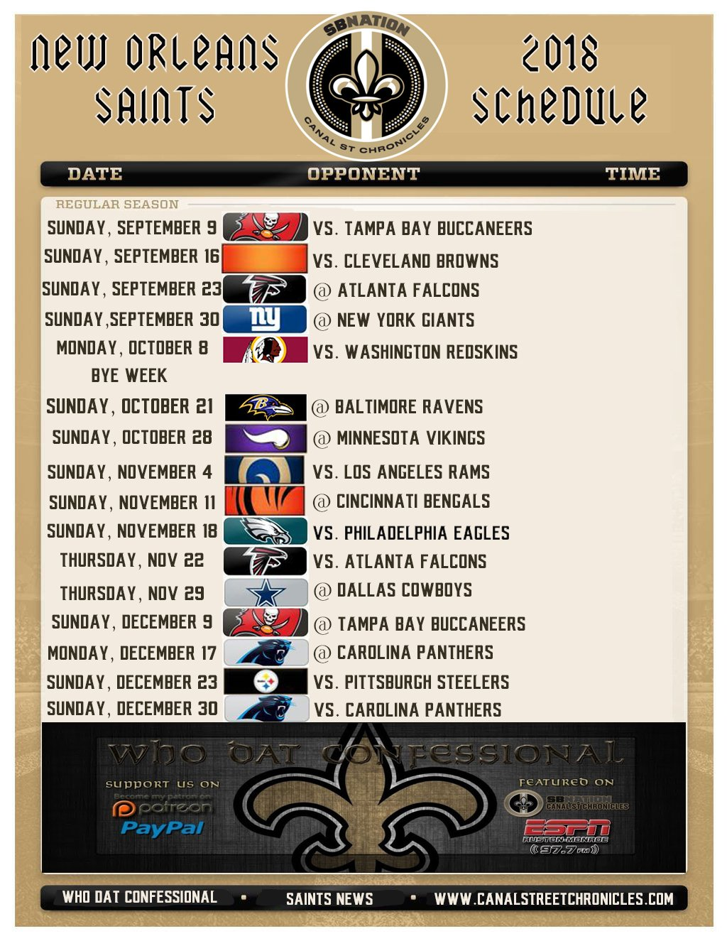 """New Orleans Saints 2018 2019 Schedule >> Deuce Windham on Twitter: """"Here is the unofficial #Saints schedule for the 2018 NFL Season, per ..."""