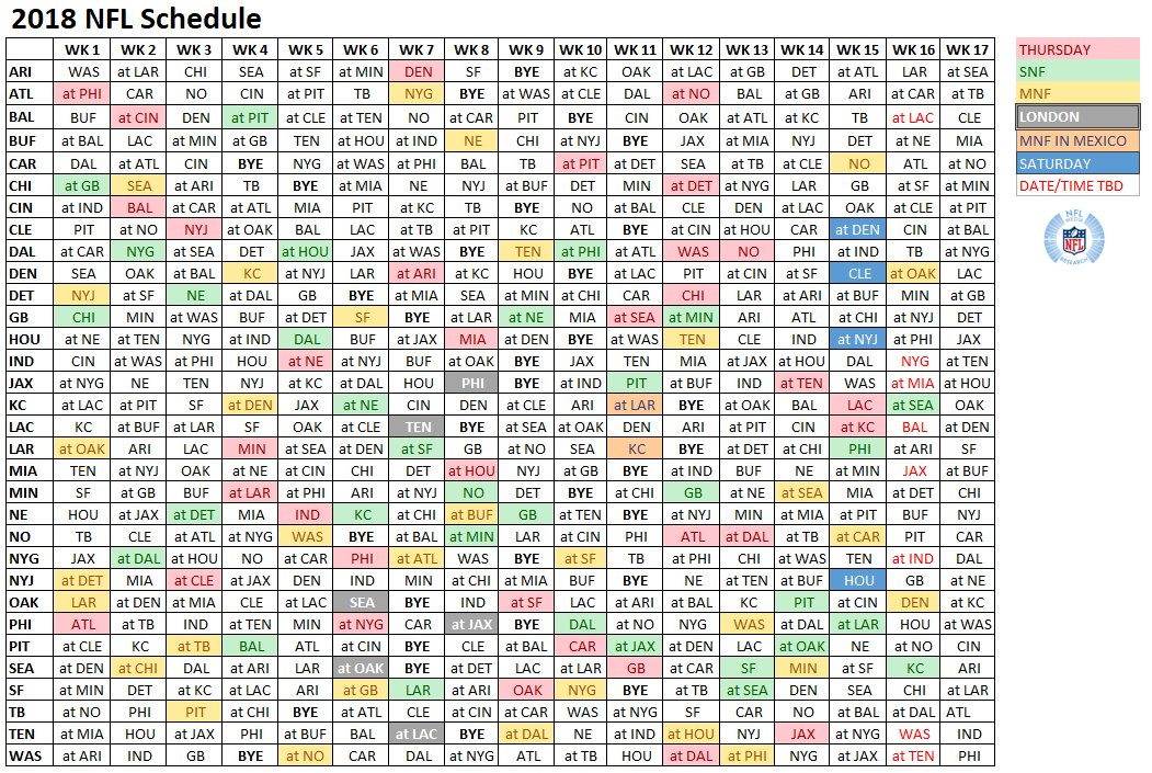 This is a picture of Clean Printable Nfl Schedules