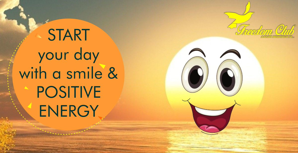 Start your #Day with a #smile &amp; #positiveenergy #PositiveVibes ... #confidence #FreedomClub #goodmorning #FridayFeelings #FridayFeeling #FridayMotivation #Positivity #Quotes #India #Business #franchise #ecommerce #CoolItDown #positivity #Friday #StartupIndia<br>http://pic.twitter.com/RCqZSONIsT