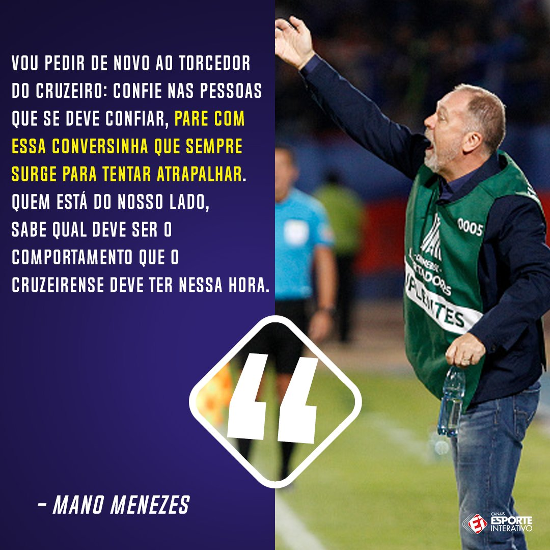 Após empate na Libertadores, Mano Meneze...