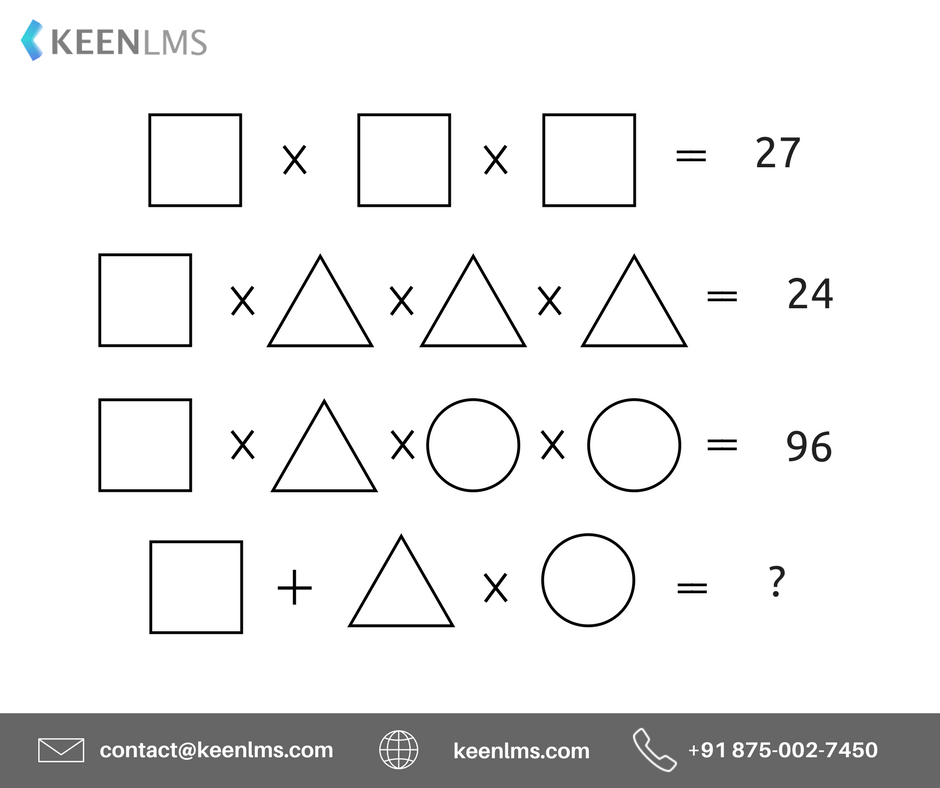 Answer to prove how smart you are!! #Puzzle #Aptitude #Challenge #KEEN #KEENLMS #Education #schools #University #SuccessTRAIN #EducationForAll #reasoning #studentlife #FridayFeeling  #edtech #fbloggers #lbloggers For FREE Mock Tests &amp; Packages, Visit  https:// goo.gl/NinVTT  &nbsp;  <br>http://pic.twitter.com/MpL5H0G7RN