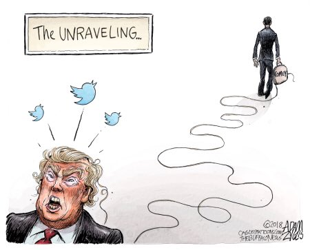 The Great Unraveling: #Trump losing his mind, #Comey spilling the beans AND soaking up most of the spotlight. Trump will not be able to help him self from coming undone.  #ItsMuellerTime #ComeyInterview #ComeyMemos #Maddow #LastWord #MuellerInvestigation #GOPComplicit<br>http://pic.twitter.com/VMhmgKBsbW