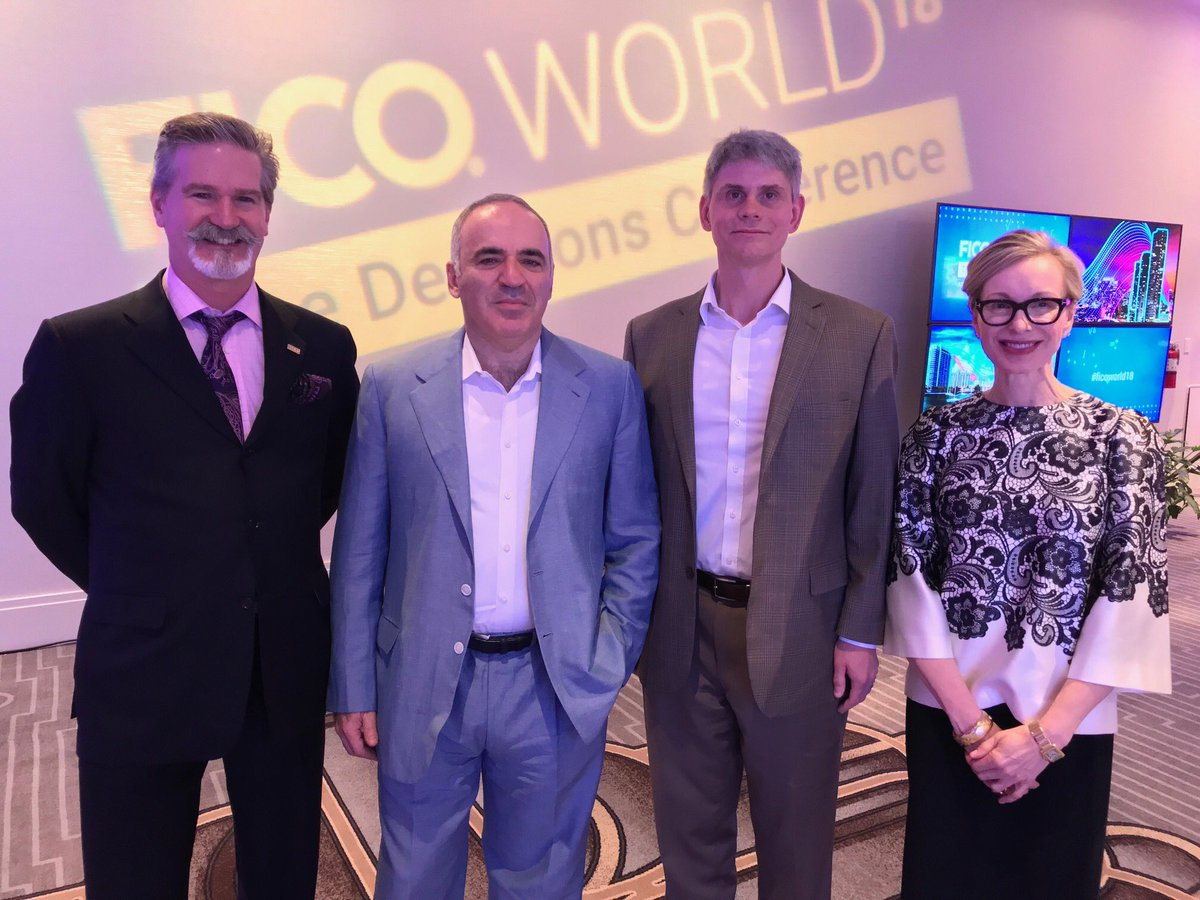 Many thanks to @Kasparov63 for an excellent #FICOWorld18 talk about how humans and #AI #machines must #collaborate. Also TY @SirDarcy and @pookie007 for setting up my Q&amp;A with the #chess #grandmaster.<br>http://pic.twitter.com/XEVNYfm62e
